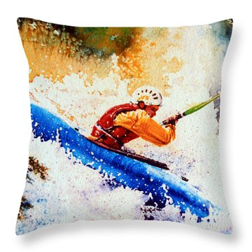 The Kayak Racer 17 Throw Pillow by Hanne Lore Koehler