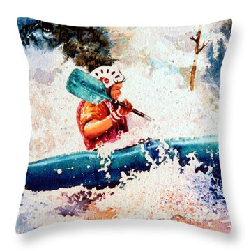 The Kayak Racer 18 Throw Pillow by Hanne Lore Koehler
