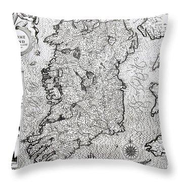 The Kingdom Of Ireland Throw Pillow by Jodocus Hondius