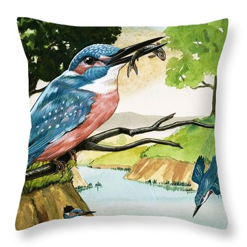 The Kingfisher Throw Pillow by D A Forrest