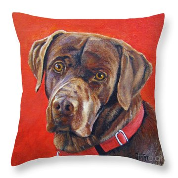 Throw Pillow featuring the painting The Lab by Jimmie Bartlett