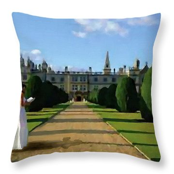 Throw Pillow featuring the painting The Lady Of Burghley House by Jann Paxton