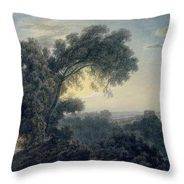 The Lake Of Albano And Castle Gandolfo  Throw Pillow by John Robert Cozens