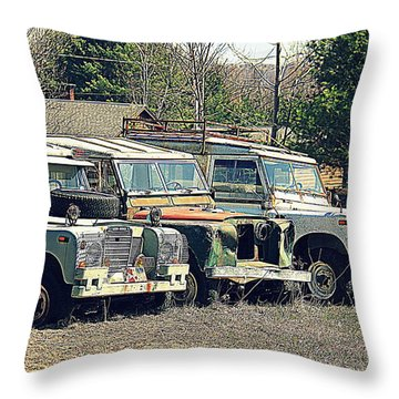 The Land Rover Graveyard Throw Pillow