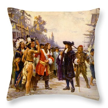 The Landing Of William Penn, 1682 Throw Pillow by Photo Researchers