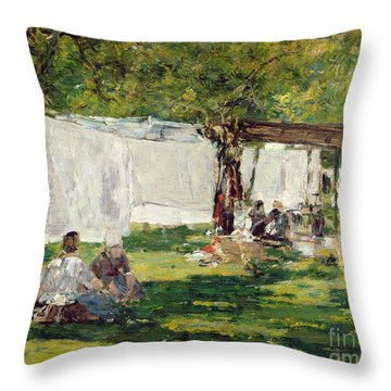 The Laundry At Collise St. Simeon  Throw Pillow by Eugene Louis Boudin