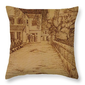 The Lodge School Throw Pillow