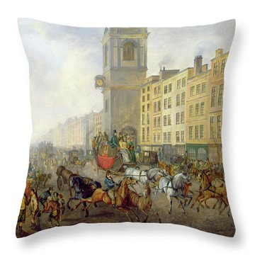 The London Bridge Coach At Cheapside Throw Pillow by William de Long Turner