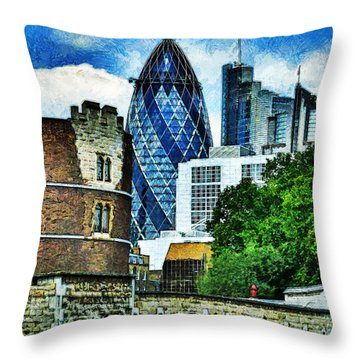 The London Gherkin  Throw Pillow by Steve Taylor