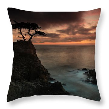 The Lone Cypress Observes A Pebble Beach Sunset Throw Pillow by Dave Sribnik