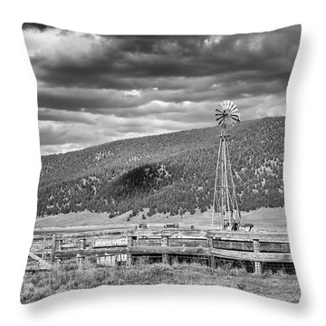 the lonly windmill in B and W Throw Pillow