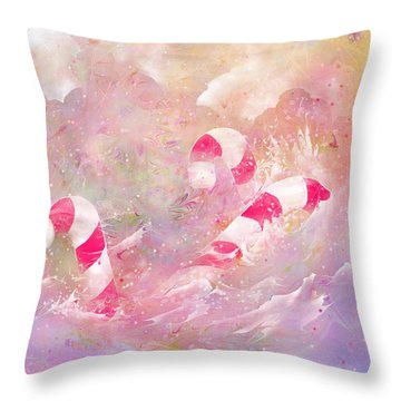 The Lost Candy Canes Throw Pillow by Rachel Christine Nowicki