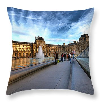 The Louvre Paris Throw Pillow by Charuhas Images