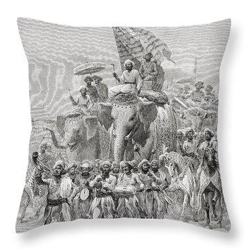 The Maharaja Of Baroda, India Riding An Throw Pillow by Ken Welsh