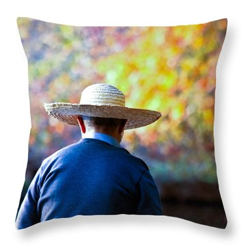 The Man In The Straw Hat Throw Pillow by Ann Murphy