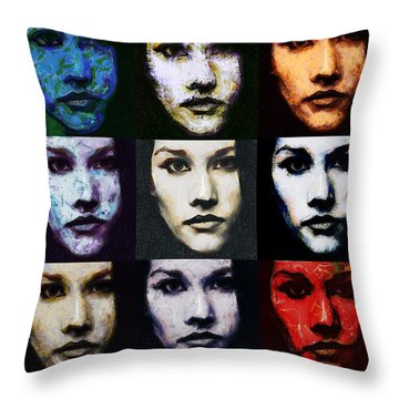The Many Faces Of Eve Throw Pillow by Gun Legler