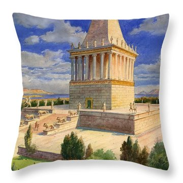The Mausoleum At Halicarnassus Throw Pillow by English School
