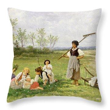 The Midday Rest Throw Pillow by Franciszek Streitt