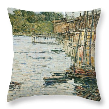 The Mill Pond Throw Pillow by Childe Hassam