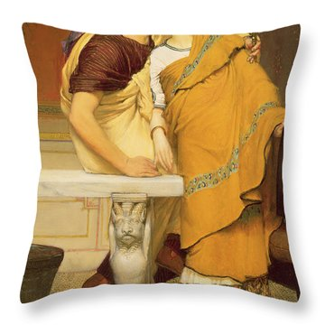 The Mirror Throw Pillow by Sir Lawrence Alma-Tadema
