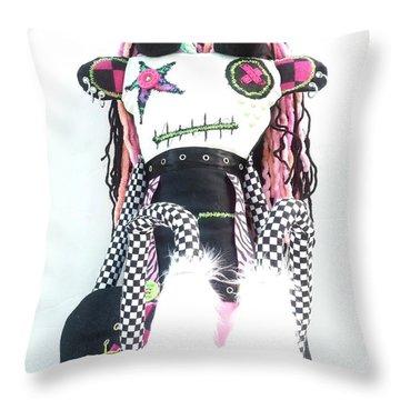 The Misfit Cyberpunk Pussy Cat Jones Version 1.0 Throw Pillow by Oddball Art Co by Lizzy Love