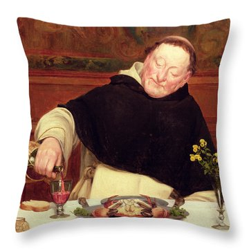 The Monk's Repast Throw Pillow by Walter Dendy Sadler