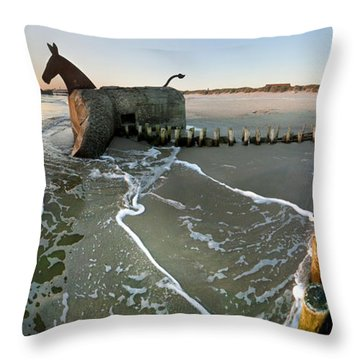 The Mules At Blaavand Throw Pillow by Robert Lacy
