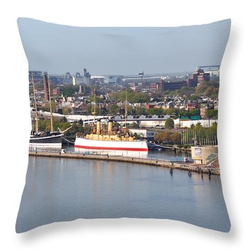 The Mushulu And Monitor With The Sports Complex In The Background Throw Pillow by Bill Cannon