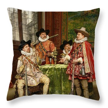 The Musketeer's Tale Throw Pillow by Adolphe Alexandre Lesrel