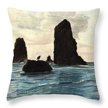 Throw Pillow featuring the drawing The Needles by Wendy McKennon