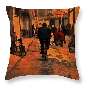 Throw Pillow featuring the photograph The Neighborhood by Lydia Holly
