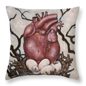 The Nest Of My Heart Throw Pillow by Sheri Howe