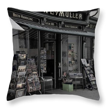 The Old Bookstore Throw Pillow by Mary Machare