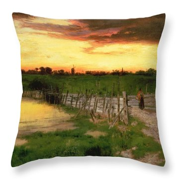 The Old Bridge Over Hook Pond Throw Pillow by Thomas Moran