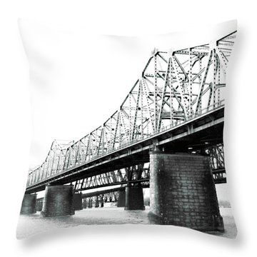 Throw Pillow featuring the photograph The Old Bridges At Memphis by Lizi Beard-Ward