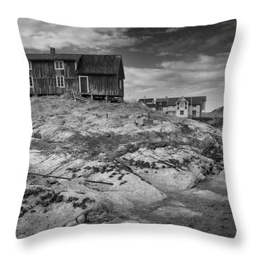 The Old Fisherman's Hut Bw Throw Pillow by Heiko Koehrer-Wagner