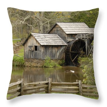 The Old Grist Mill Throw Pillow by Cindy Manero