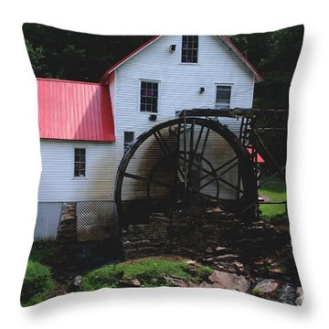 The Old Mill 1886 In Cherokee North Carolina Throw Pillow by Susanne Van Hulst