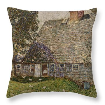 The Old Mulford House Throw Pillow by Childe Hassam