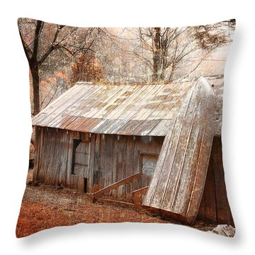 The Old Row Boat Throw Pillow by Gray  Artus