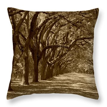 The Old South Series In Sepia Throw Pillow by Suzanne Gaff