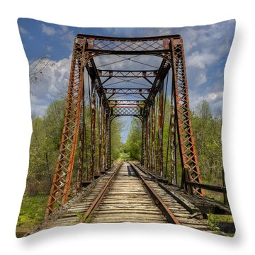 The Old Trestle Throw Pillow by Debra and Dave Vanderlaan