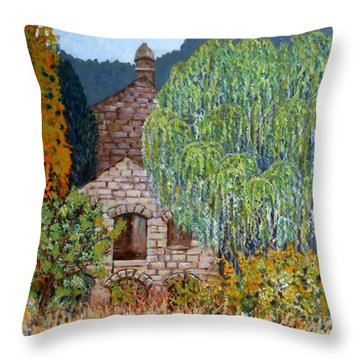 The Old Willow Tree Throw Pillow by Caroline Street
