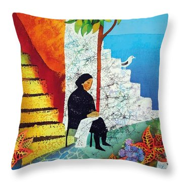 The Old Woman And The Sea Throw Pillow by Kate Krivoshey