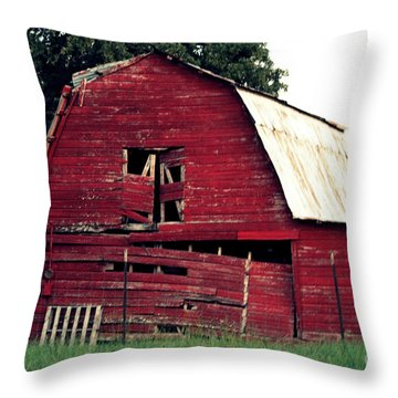 Throw Pillow featuring the photograph The Ole Red Barn by Kathy  White