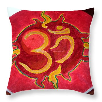 Throw Pillow featuring the painting The Omnipotent Aumkar by Sonali Gangane