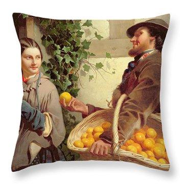 The Orange Seller  Throw Pillow by William Edward Millner