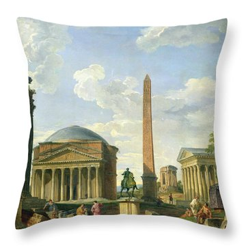 The Pantheon And Other Monuments 1735 Throw Pillow by Giovani Paolo Panini