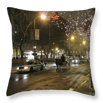 Throw Pillow featuring the photograph The Past Meets The Present In Chicago Il by Ausra Huntington nee Paulauskaite
