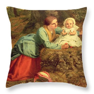 The Path Where The Brown Leaves Are Spread Throw Pillow by Frederick Richard Pickersgill